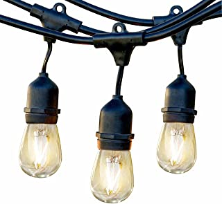 Brightech Ambience Pro - Waterproof LED Outdoor String Lights - Hanging, Dimmable 2W Vintage Edison Bulbs - 48 Ft Commercial Grade (Renewed)