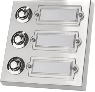 rectangular 42.00 voltsV de policarbonato con portanombre metal aut/éntico 1 cajet/ín de pared HUBER Pulsador de timbre