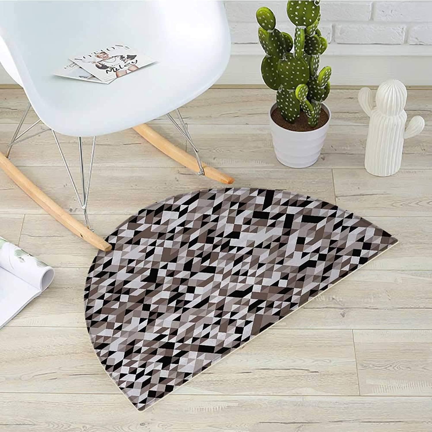 Geometric Half Round Door mats Abstract bluerry Image Fashionable Design Shades of colors Tones Image Bathroom Mat H 31.5  xD 47.2  Cocoa Black White
