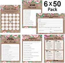 300 Sheet Floral Bridal Shower Bingo Games Cards, POAO Wedding Game Cards Pack and Party Supplies, Set of 6 Games / 50 Sheets Each Game(5 x 7Inches)