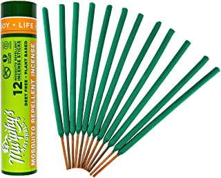 Murphy's Naturals Mosquito Repellent Incense Sticks | Bamboo Incense Infused with Citronella, Rosemary, Lemongrass, Cedarwood & Peppermint Essential Oils | Plant Based DEET Free | 12 Sticks per Tube