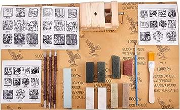 PH PandaHall Seal Stamp Stone Carving Tool Chisels/Knife Set Kit, 8pcs Chinese Seal Stamp Stone, Wood Seal Bed Stamp Carved Bed for Carving Stamp Stone