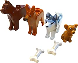 LEGO Dog Set - Four Different Dogs with Bones