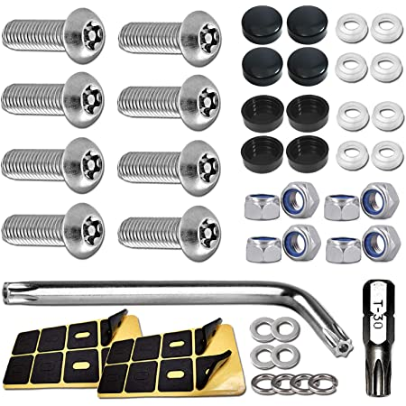 gazechimp 4X Stainless Steel Rust Resistant License Plate Frame Bolts Security Anti-Theft Skull Type Screws Fasteners M6, Black//Silver/&Red