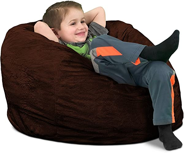 ULTIMATE SACK Kids Sack Bean Bag Chair Giant Foam Filled Furniture Machine Washable Covers Double Stitched Seams Durable Inner Liner And 100 Virgin Foam Kids Bean Bag Brown Fur
