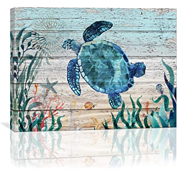 Home Wall Art for Bathroom Sea Turtle Wall Decor Bathroom Decor Prints Canvas Wall Art Ocean Decor Small Framed Artwork for Walls Vintage Paintings on Canvas Prints, 12''x16'' inch