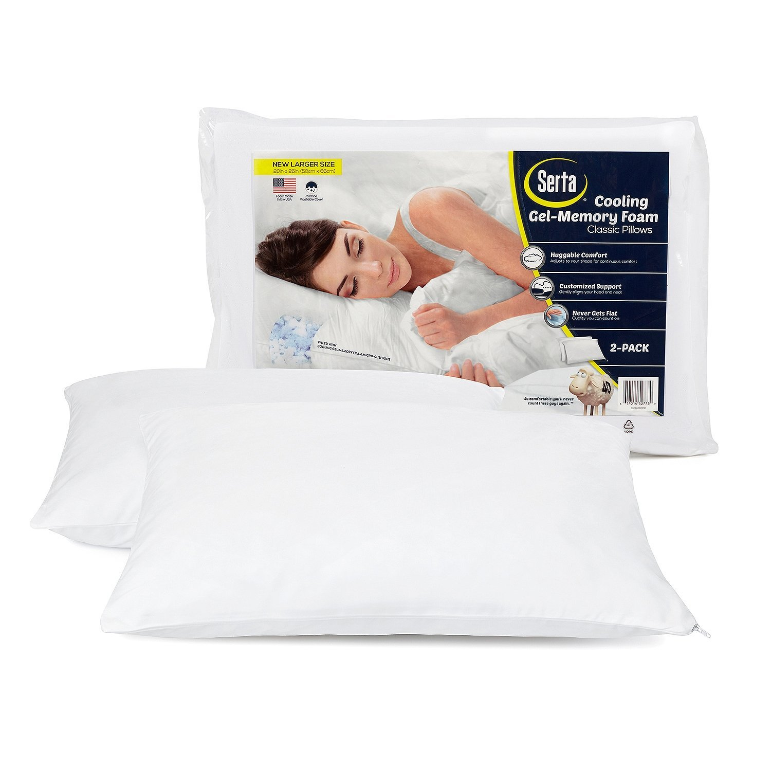 Amazon.com: Serta Gel Memory Foam Cluster Pillows, Set of 2: Home