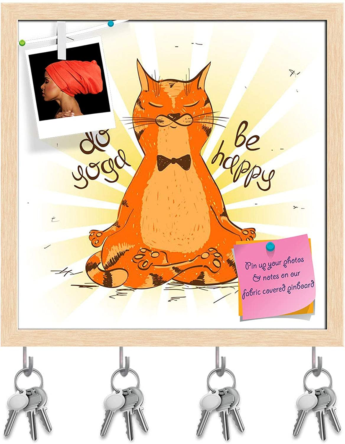 Artzfolio Red Cat Sitting On Lotus Position of Yoga Key Holder Hooks   Notice Pin Board   Natural Brown Frame 20 X 20Inch