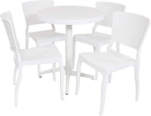 new arrival Sunnydaze new arrival All-Weather Hewitt Outdoor 5-Piece Patio Furniture Dining Set - Includes Round Table discount with Folding Top and 4 Chairs - Commercial Grade Indoor/Outdoor Use - White outlet sale