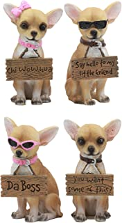 Ebros Set of 4 Adorable Fashion Tea Cup Chihuahua Dogs Statues Each Wearing Humorous Faux Wood Collar Signs Small Chihuahuas Figurines 4.25