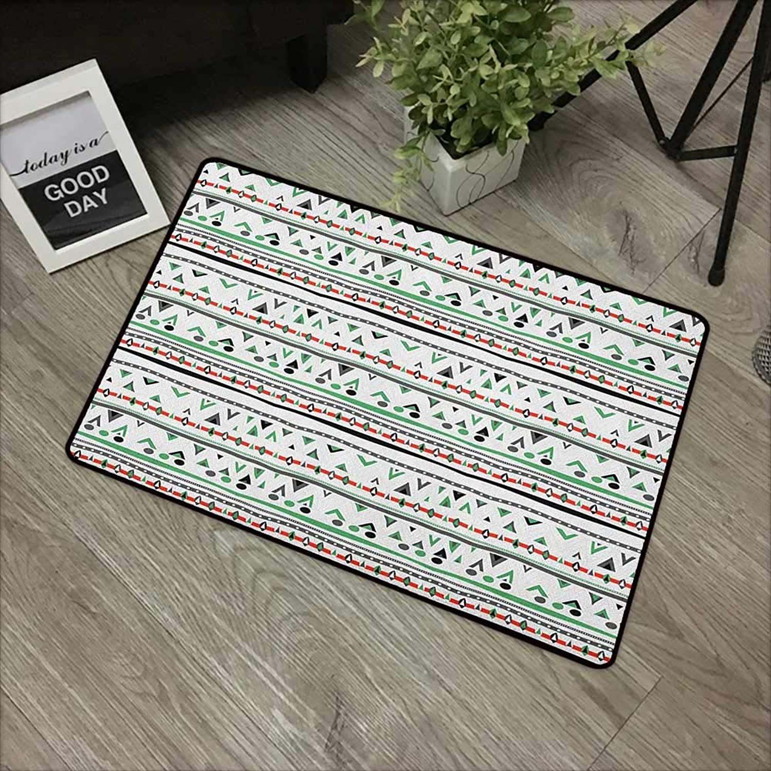 Pool Anti-Slip Door mat W35 x L59 INCH Tribal,Native American Style Traditional Aztec Pattern Old Fashioned Hippie Boho Influences, Multicolor with Non-Slip Backing Door Mat Carpet