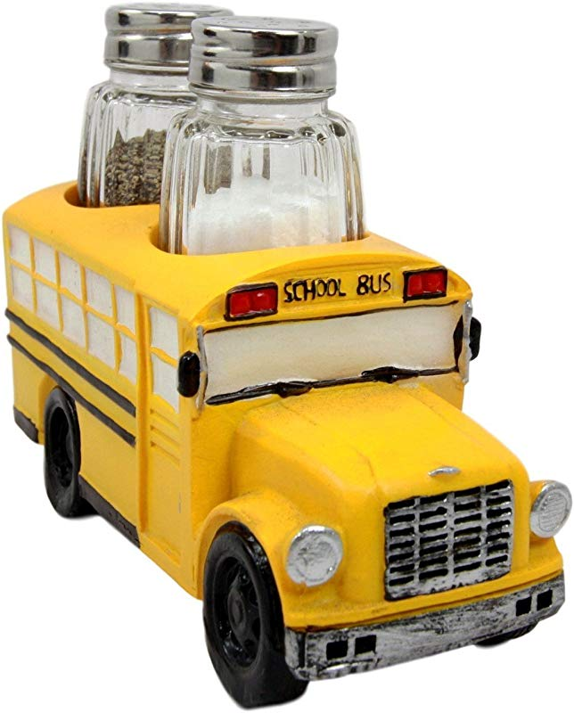 Atlantic Collectibles North American Yellow School Bus Decorative Glass Salt Pepper Shakers Holder Resin Figurine 6 L