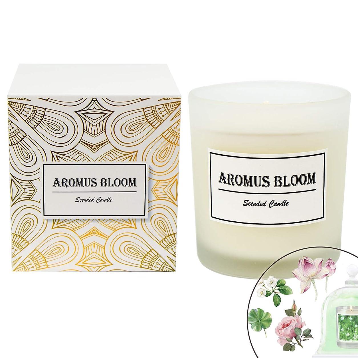 恥ずかしさ暖炉抽選AromusBloom 香り付きキャンドル ギフト 天然エッセンシャルオイル 100% 環境に優しい大豆ワックス アロマセラピーキャンドル ギフトキャンドル レディース Green Lush B07D82D5S5