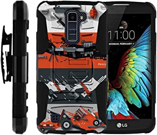 TurtleArmor | Compatible with LG K10 Case | LG Premier Case [Hyper Shock] Rugged Hybrid Hard Shell Kickstand Fitted Silicone Holster Belt Clip War and Military - Heavy Artillery