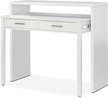 Habitdesign 004582BO - Tavolo da scrivania allungabile, Artik bianco, 98,5 x 87,5 x 36-70 cm Profondità