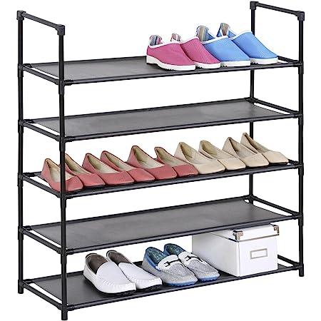 IDIMEX Etagères à Chaussures Willy Rangement avec 5 tablettes en Tissu et Une Structure en métal laqué Noir
