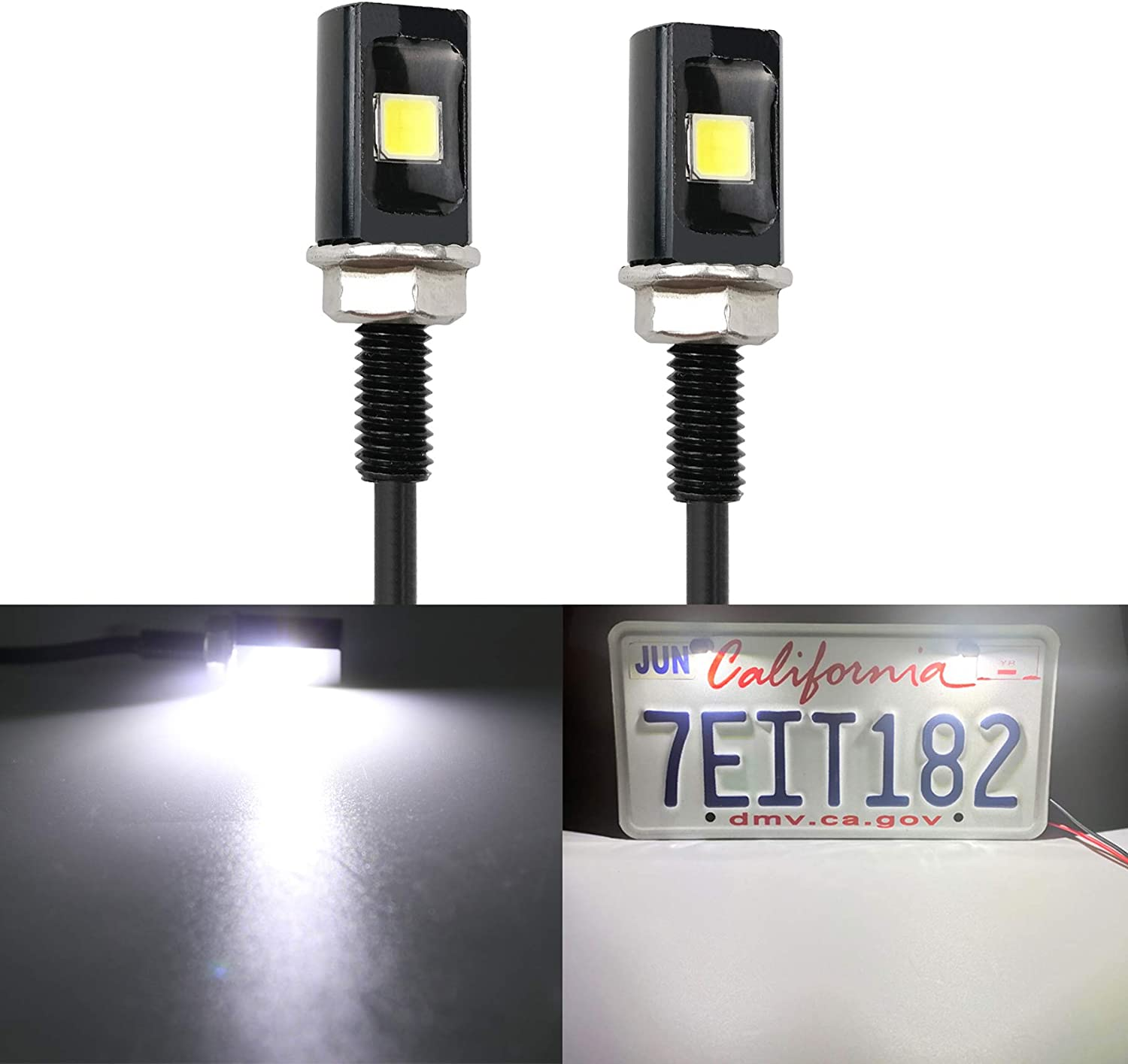 LivTee Super Bright Now Max 71% OFF on sale 12V Waterproof Plate Bolt License Tag Screw