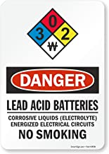 "SmartSign - S-9402-EU-10 ""Danger - Lead Acid Batteries, No Smoking"" NFPA Label 