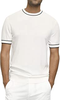 PJ PAUL JONES Men's Crew Neck Casual Pullover Sweater Slim Fit Short Sleeve Summer Knitwear