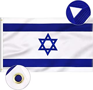 FLAGBURG Israel Flag 3x5 FT, Israeli Flags Durable Embroidered with Vivid Color, Triple Stitching, Canvas Header and Brass Grommets for All-Weather Outdoor Display