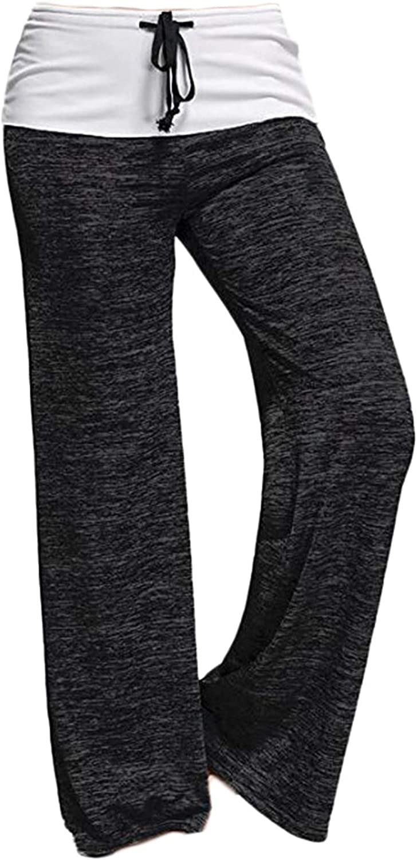 Andongnywell Women's Comfy Pajamas Pants Casual Pants Drawstring Wide Leg Lounge Pants for All Seasons Trousers