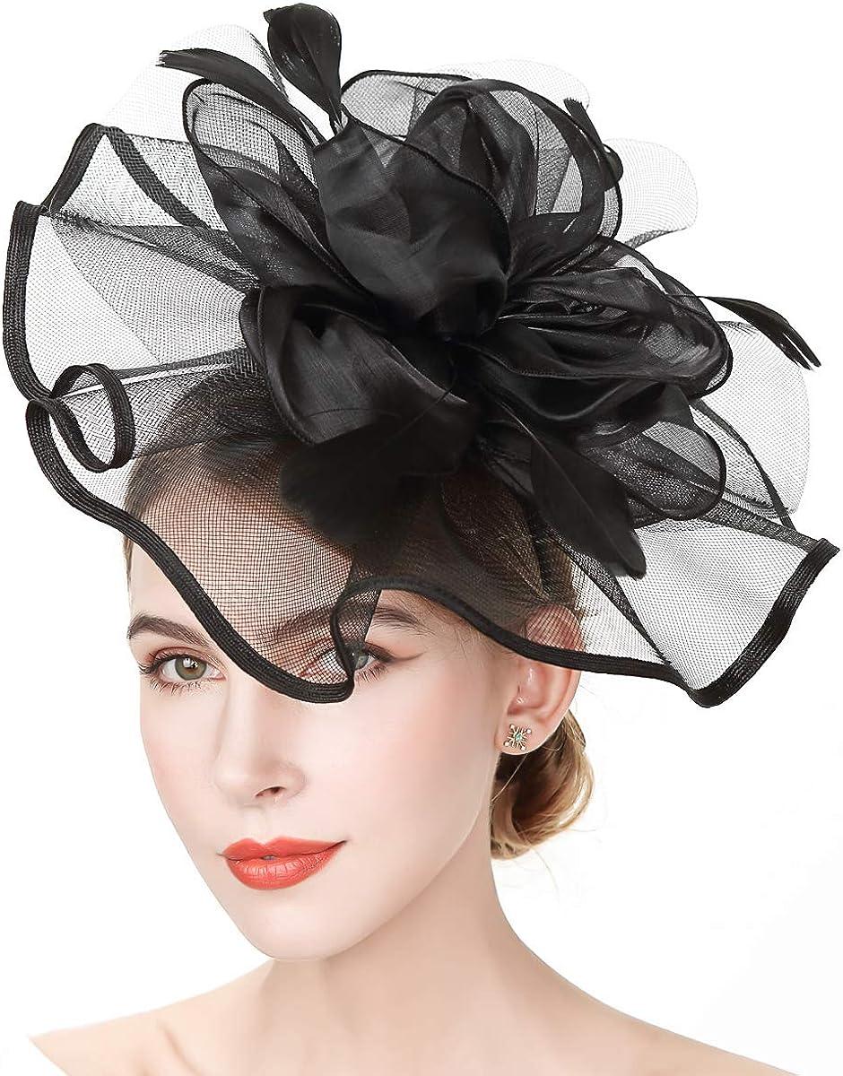 YIULSG Fascinators Seattle Mall for Tampa Mall Women Feather Hats Fascinator Headband Ve