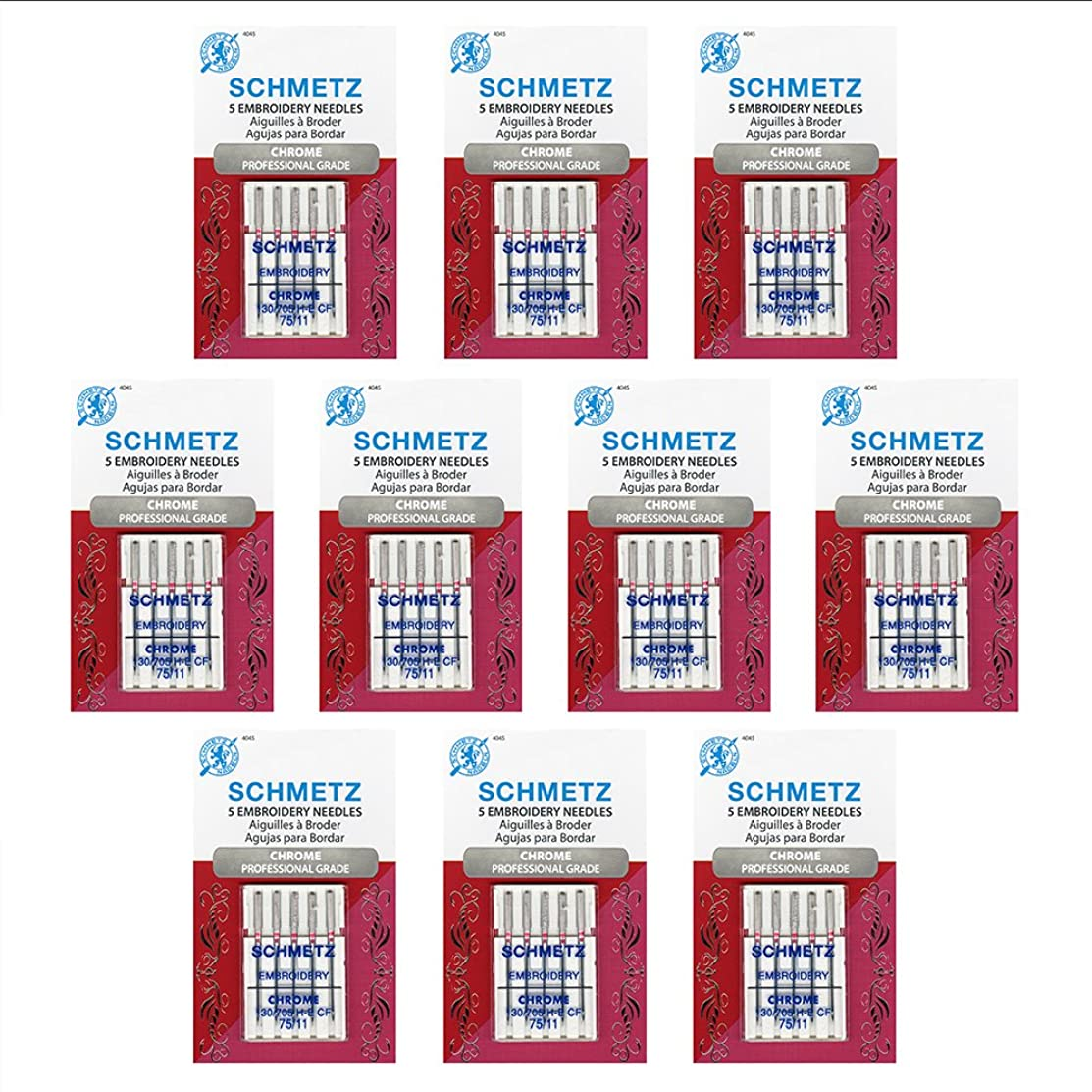 50 Schmetz Chrome?Embroidery Sewing Machine Needles - size 75/11 - Box of 10 cards