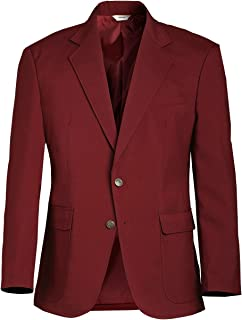 Ed Garments Men's Classic Two Button Single Breasted Blazer, BURGUNDY, 40
