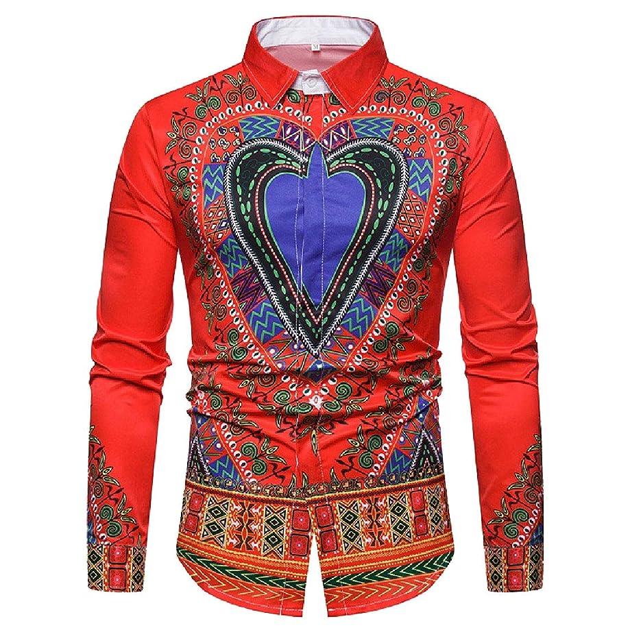 Vska Men's Long Sleeve Turn-Down Collar Digital Print Plus Size Western Shirt