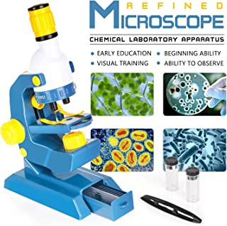 EP EXERCISE N PLAY Microscope Set, Beginner Microscope STEM Kit, Kids Microscope Science Kits for Beginner Education with LED 100X 400X and 1200X Magnification Student Science Toy Birthday Gifts
