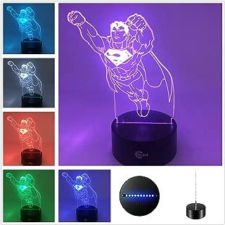 Movie Collection Suntint 3D Optical Illusion Sleeping Night Light Multi Colors USB Powered Lamp Room Office Decoration (Superman)