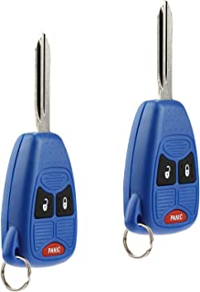 Key Fob Keyless Entry Remote fits Chrysler Aspen Pt Cruiser / Dodge Caliber Dakota Durango Magnum Nitro Ram / Jeep Compass Patriot Wrangler / Mitsubishi Raider (Blue), Set of 2