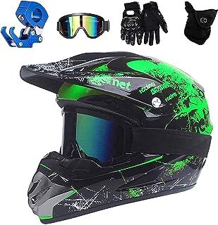 VOMI Motocross Helm Grün, Adult Off Road Helm mit Handschuhe Maske Brille, Unisex Motorradhelm Cross Helme Schutzhelm ATV Helm für Männer Damen Sicherheit Schutz