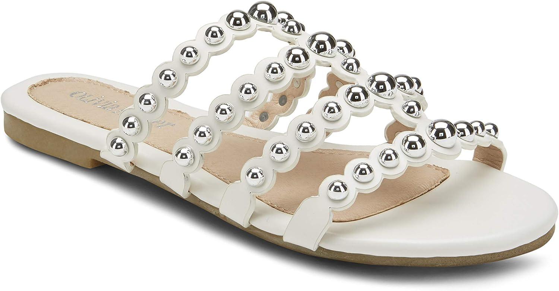 Olivia Miller Ladies Studded Scallop Slide Sandals White