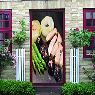 LOVEJJ Sticker de Porte 3D Les légumes Sticker Porte 3D Effect Chambre Salle de Bain Papier Peint Vinyle Mural Amovible Po...