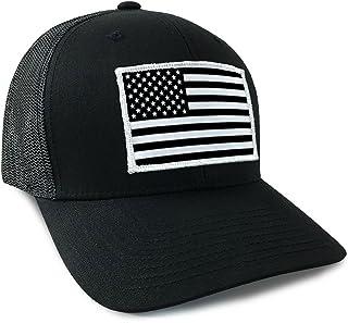 American Flag USA Flexfit Mesh Tactical Trucker Snapback Hat Black White b64c3955b43f