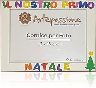 Cornici per foto in legno con scritto IL NOSTRO PRIMO NATALE decorata con l'albero di natale, da appoggiare o appendere, m...