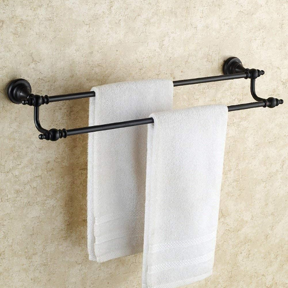 TTms Toaller Toaller, Cobre Towel Towel Rack Antigüedad, Toalla de Cobre Completamente Negra Baños de Doble Rack, Remolque, Toallero (Tamaño: 80 cm) (Size : 50cm)