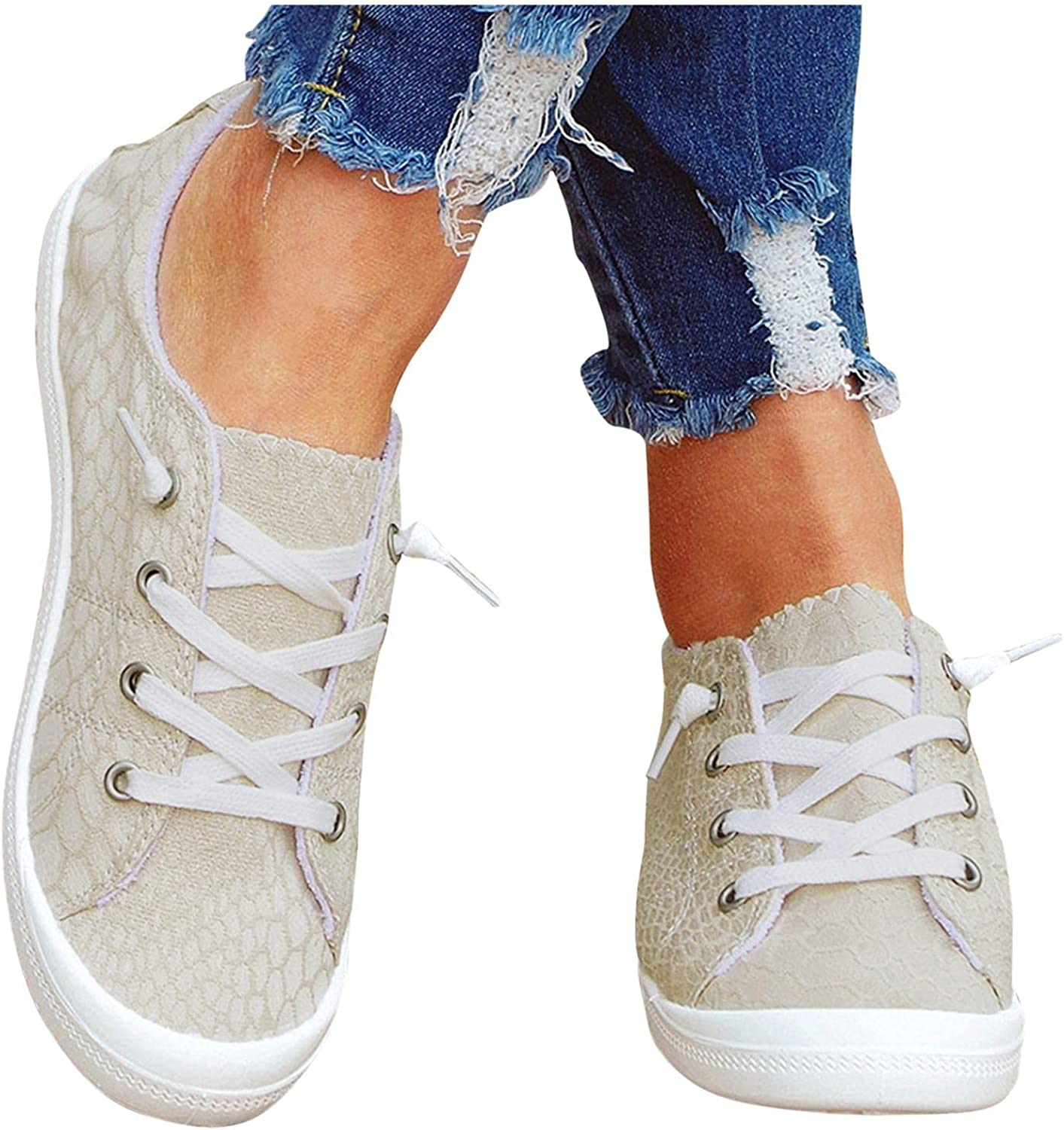 Hbeylia Low Top Canvas Shoes For Women Girls Fashion Sneakers Fashion Casual Lace Up Slip On Flats Walking Shoes Soft Lightweight Outdoor Running Sports Play Sneakers For Students School Work