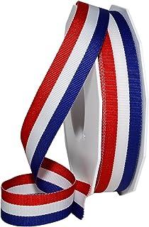 """Morex Ribbon Stripes Ribbon, 7/8"""" x 25-yard, Red White/Blue"""