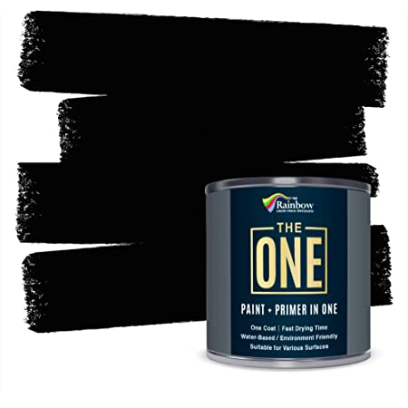 The ONE Paint Paint and Primer: Water Based House Paint with Primer for Wall, Ceiling, Bathroom, Kitchen, and More - Quick Drying Paint for Interior / Exterior Use - Black, Satin Finish, 1 Liter
