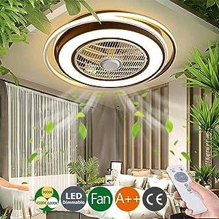 Ventiladores De Techo Plafon Con Iluminación Control Remoto LED Luz 60W Luces Ultra Silencioso Ajustable Velocidad Del Viento Regulable Verano Para Dormitorio Sala De Estar Moderno Lámpara,Negro