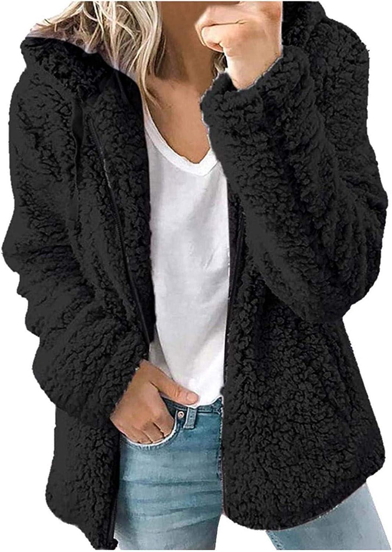 Women's Casual Faux Fur Jacket Fleece Zip Up Hooded Coat Winter Plush Warm Jackets Outerwear