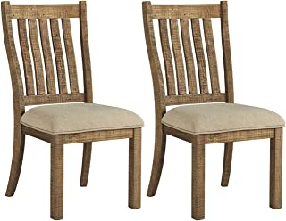 Signature Design By Ashley - Grindleburg Dining Upholstered Side Chair - Set of 2 - Casual Style - White/Light Brown