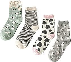 Searchself Women's Funny Cute Animal Design Casual Socks (Pack of 4)