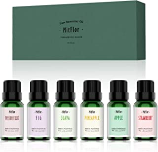 Fruity Fragrance Oils Set, MitFlor Aromatherapy Therapeutic Fruit Oils Kit Gift for Diffuser Massage, Pineapple Guava Strawberry Passion fruit Apple Fig, 6 x 10ml