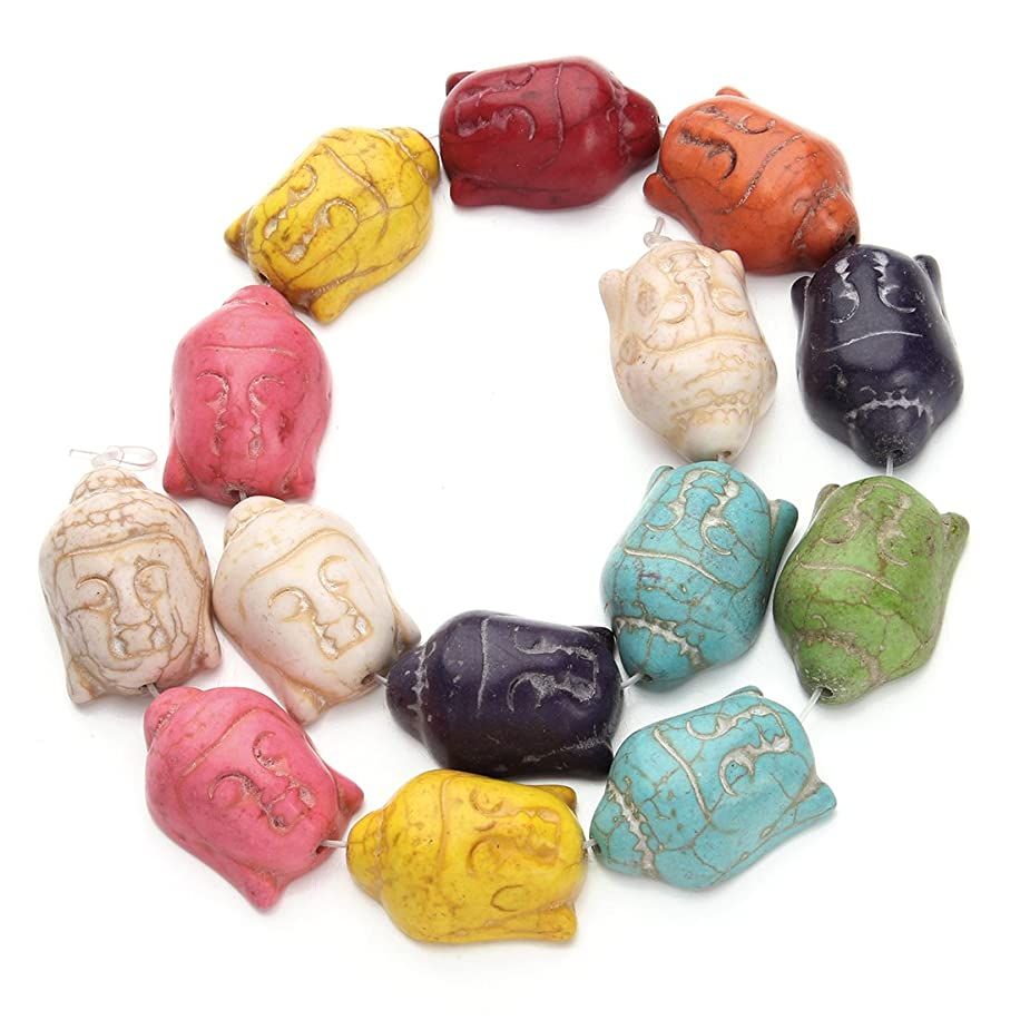 Linsoir beads Colorful Turquoise Stone Carved Buddha Beads Magnesite Buddha Head Charm Jewelry About 14pcs/Strand