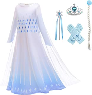 AmzDreams Snow Queen Costume White Ice Princess Fancy Dress Birthday Party Pageant Halloween Holiday Toddler Girl Outfit