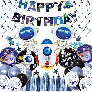 Science Fiction birthday balloons Astronaut Hanging Swirl Decoration Universe Space Happy Birthday Banner with Colorful tassels Space Themed Birthday Party Supplies