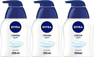 NIVEA Creme Soft Liquid Hand Wash Soap, Almond Oil & Mild Scent, 3 x 250 ml, 80700